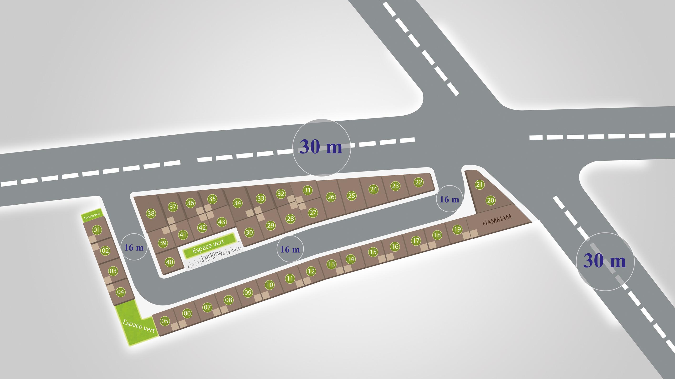 Plan de Masse lot de terrain abouab al amane Al Arsat