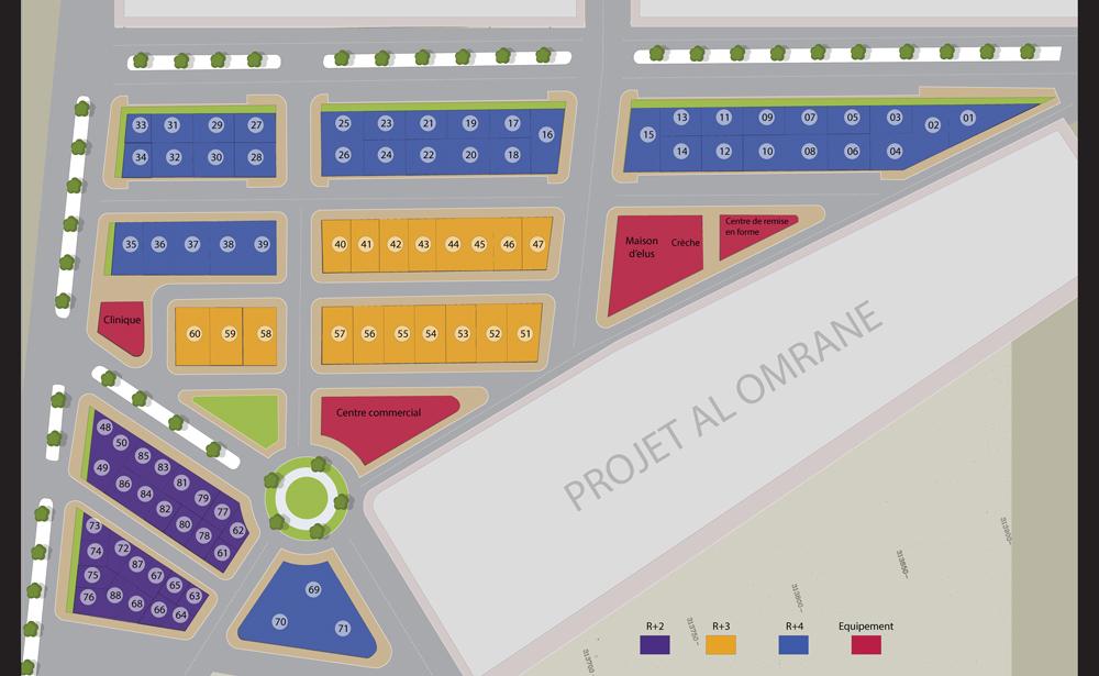 plan de masse lot de terrain abouab Deroua Al Arsat