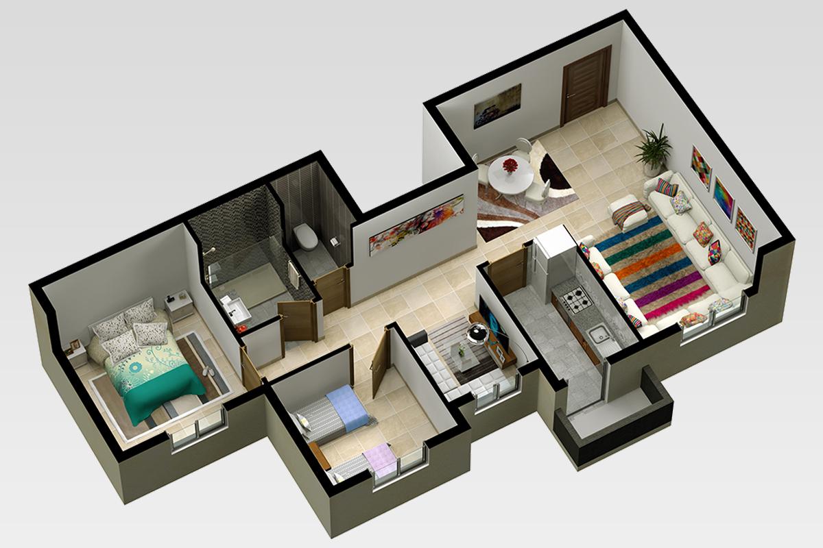 Plan d'appartement projet economique AL ARSAT Bouskoura